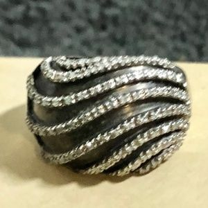 Oxodized Sterling Silver Diamond Band SIze 6